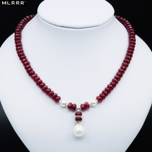 Natural Stone Jewelry Elegant Noble Deep Red Rubies Beaded Necklace with Shell Pearl Pendant Charms for Women Girls Gift