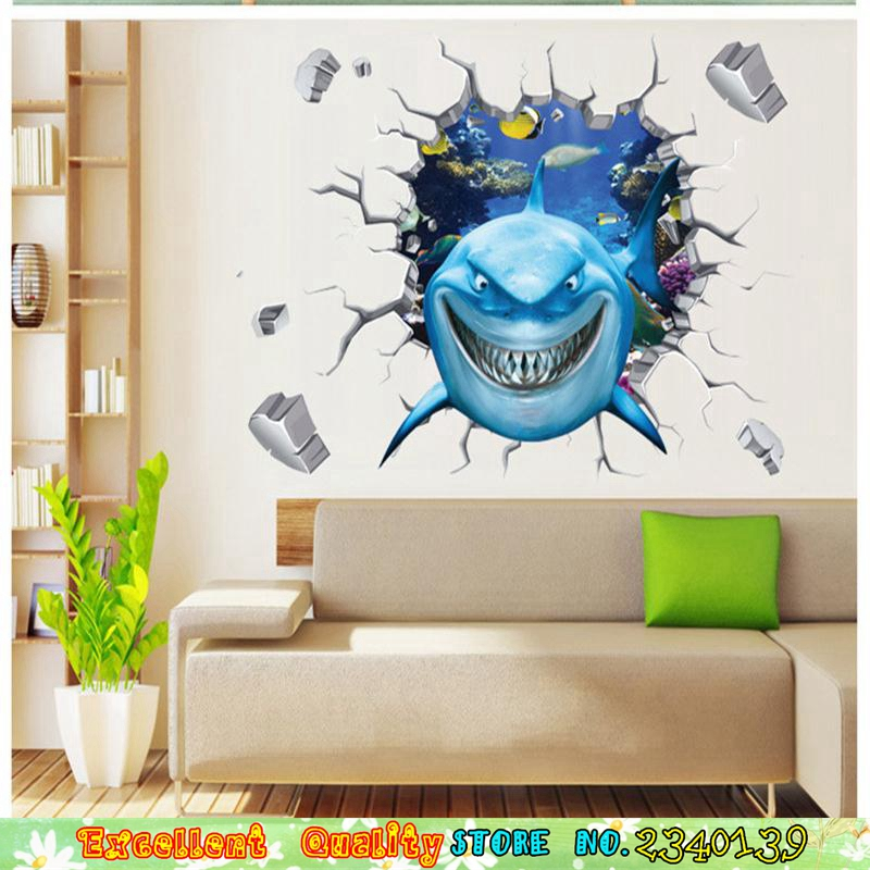 3d Shark Break Through The Wall Stickers Finding Nemo Movie Poster