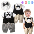 2016 new infantil menino romper cavalheiro bow collar sólidos macacão de bebê da criança de manga curta macacão infantil roupa infantil