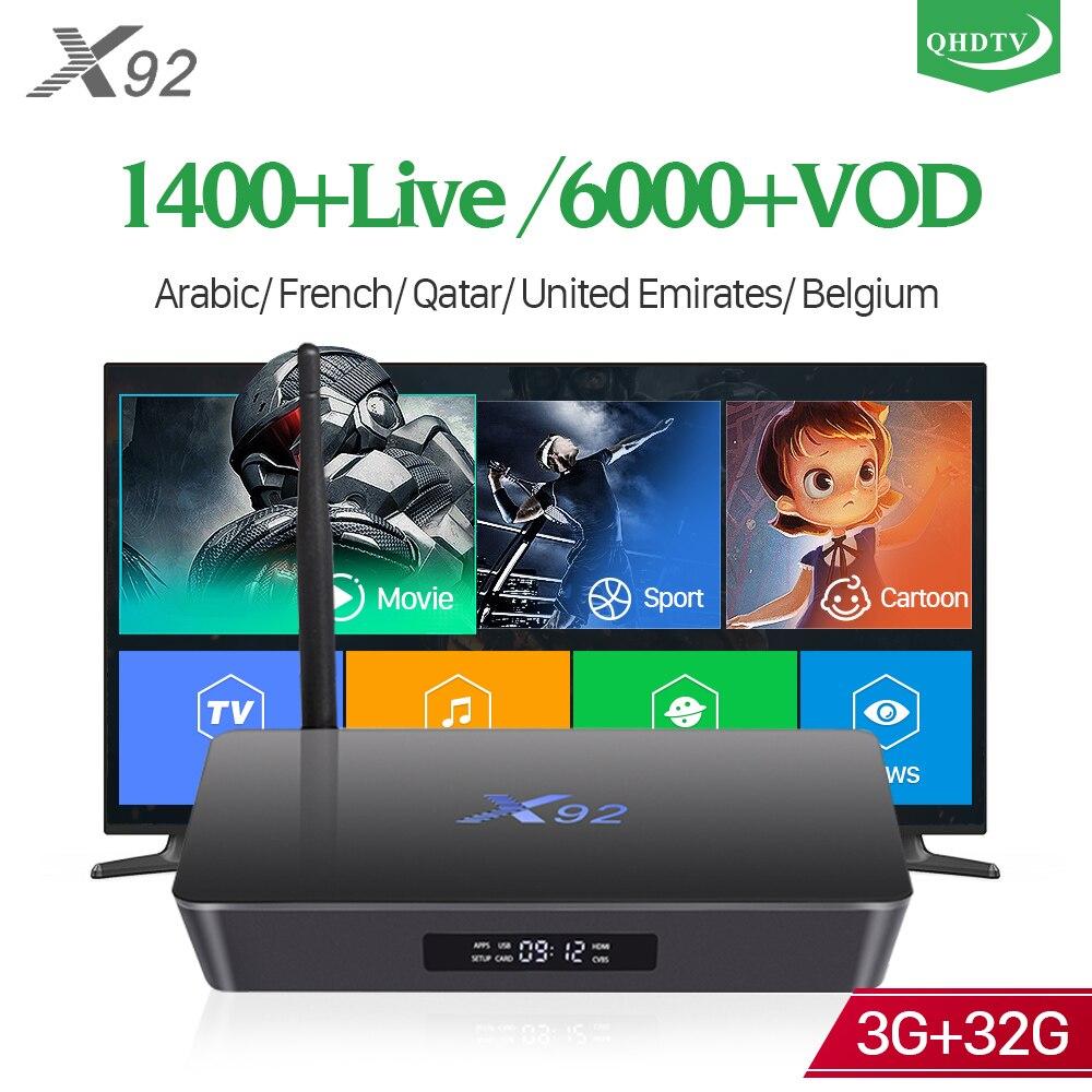 QHDTV IPTV Subscription Box X92 4k S92 3G 32G TV Receivers with 1 Year IP TV Code France Arabic Belgium Netherlands IPTV