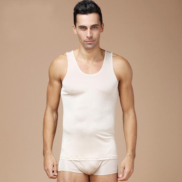 Homens de alças 100% seda Natural sólido ombro top de seda branco marinha 2016 nova verão