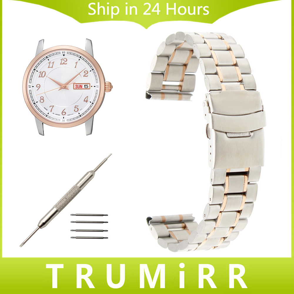 Stainless Steel Watchband 18mm 20mm 22mm for Seiko Men Women Watch Band Safety Clasp Strap Wrist