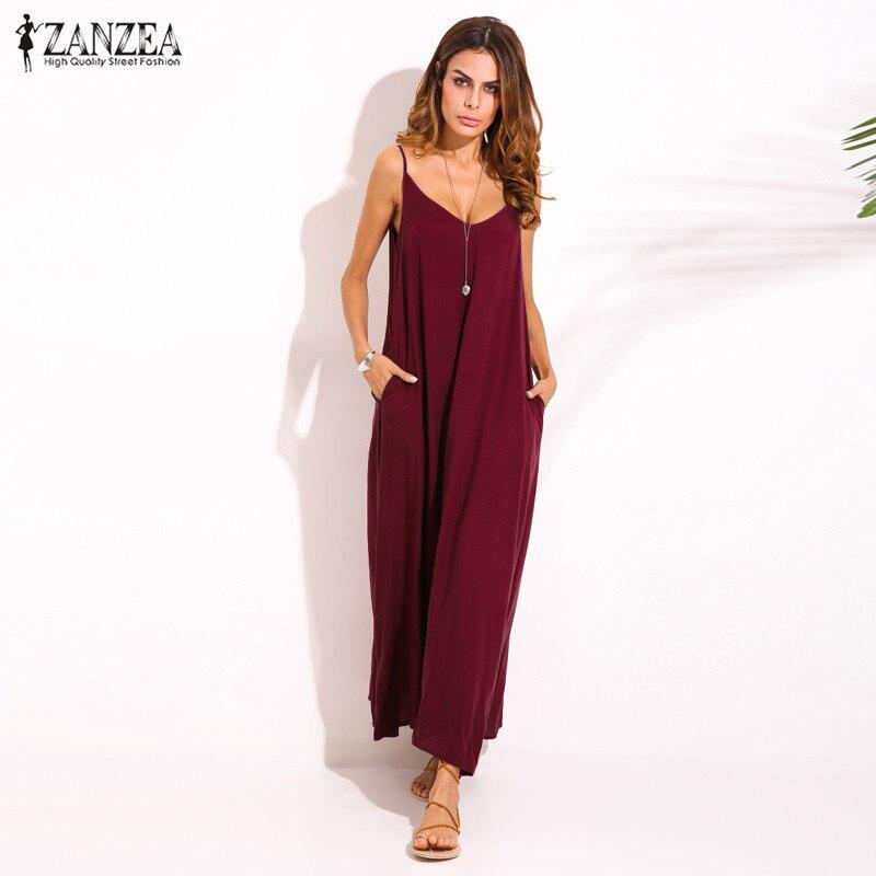 Zanzea 2018 Summer Style Women Boho Strapless Sexy V Neck Sleeveless Dress Casual Loose Long Maxi Solid Dress Vestidos Plus Size 3