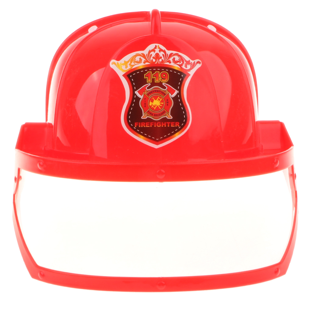 Kid Pretend Play Fireman Safety Helmet Firefighter Hat Costume Party Role Playing Toy