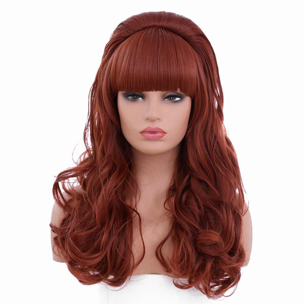 BESTUNG  Copper Red Long Wavy Wig for Women 80s Classic Costumes Cosplay Big Synthetic Hair Wigs