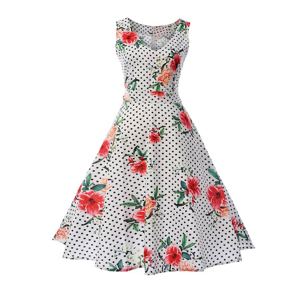 2018 New Crystal High Quality Women Dot Printing Bodycon Sleeveless Casual Evening Party Prom Swing Dress