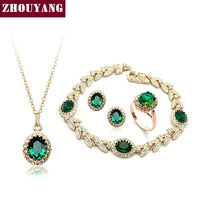 ZYS105 18K Gold Plated Emerald Green Austrian Crystal Jewelry Set With 4 Pcs Ring Eearrings Necklace
