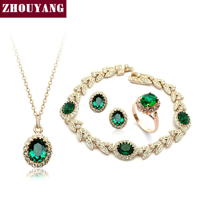Top Quality ZYS105 Rose Gold Color Green Austrian Crystal Jewelry Set With 4 Pcs Ring Eearrings
