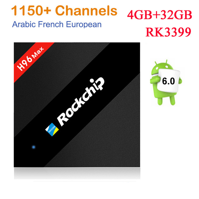 H96 MAX 4G 32G Rockchip RK3399 Android TV Box+1 year Arabic French US UK Italy Sweden Africa European IPTV server 1150+Channels 1 year italy iptv europe iptv in h96 max android iptv box 4g 32g rk3399 mali t860 gpu android 7 0 set top box italy uk spain