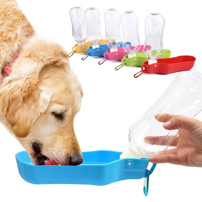 Portable Pet Dog Cat Travel Drinking Water Bowl Bottle: Foldable Plastic Dog Cat Drinking Water Feeder Outdoor