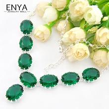 Enya nueva llegada de la manera mujeres del collar del encanto verde sintético de cristal collares de cadena joyería del banquete de boda bijoux n0615