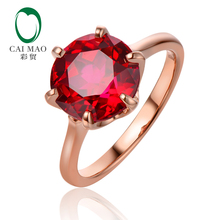 Caimao 5.95ct 10mm Round Ruby 14K Rose Gold 6Prongs Set Engagement Ring