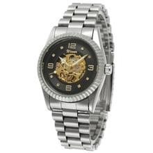 c123f0a12 أعلى ماركة فضة الفائز الساعات الرجال أزياء الرجال ووتش التلقائية الميكانيكية  ساعة اليد reloj هومبر ستانلس