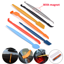 FOSHIO 7PCS Car Wrap Vinyl Magnetic Squeegee Scraper Kit Carbon Fiber Film Sticker Wrapping Micro Stick Tool Window Tint Set