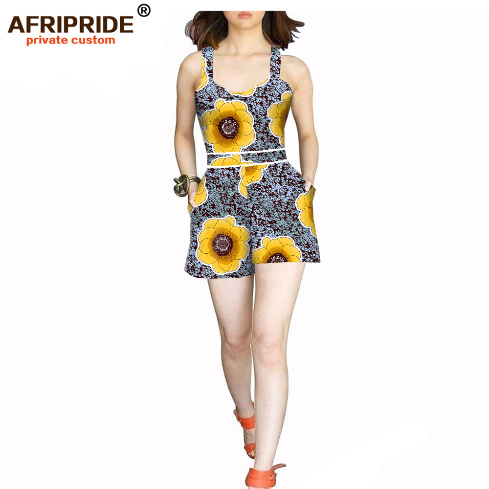 African casual jumpsuit for women sexy lady african clothes short jumpsuit casual print cotton wax sleeveless