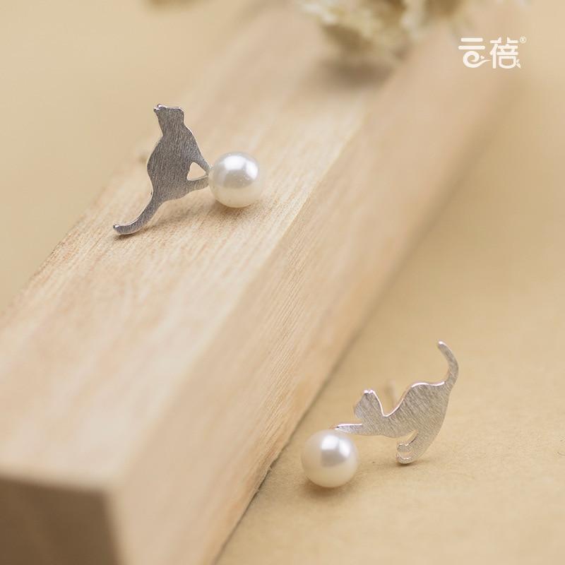Women s 925 Sterling Silver Jewelry Fashion Earrings Lovely Cat Pearl Stud Earrings Gift Asymmetric Animals