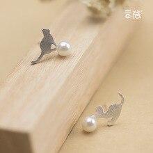 Women's 925 Sterling Silver Jewelry Fashion Earrings Lovely Cat Pearl Stud Earrings Gift Asymmetric Animals Silver Original