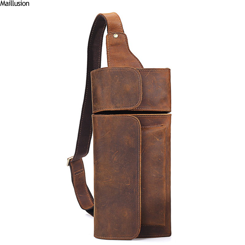 Maillusion Men Chest Bag Genuine Leather Waist Packs Vintage Cowhide Shoulder Bag Anti-thief Male Phone Pouch Bags Travel Pocket