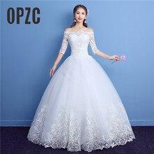 한국어 레이스 절반 슬리브 보트 목 웨딩 드레스 2020 새로운 패션 우아한 공주 Appliques 가운 사용자 정의 신부 드레스 D09 7