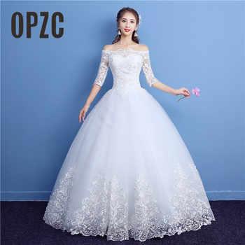 Korean Lace Half Sleeve Boat Neck Wedding Dresses 2019 New Fashion Elegant Princess Appliques Gown Customized Bridal Dress D09 7 - DISCOUNT ITEM  30% OFF Weddings & Events