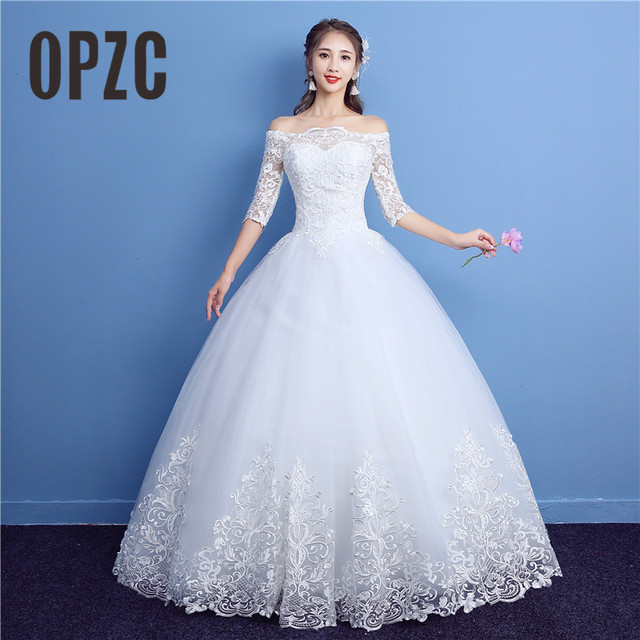 Korean Lace Half Sleeve Boat Neck Wedding Dresses 2020 New Fashion Elegant Princess Appliques Gown Customized Bridal Dress D09 7