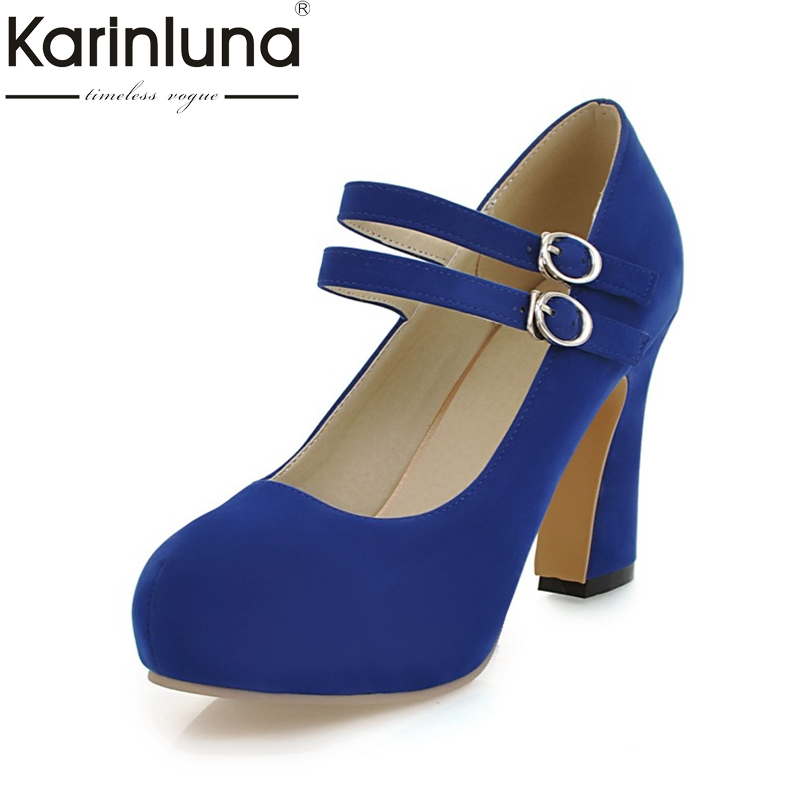Karinluna 2018 Plus Size 34-43 Mary Janes Pumps Woman Shoes Fashion Buckle Strap Platform High Heels Party Shoes Women gold silver pink gladiator sandals summer high heels platform shoes woman buckle strap pumps casual women shoes plus size 33 43