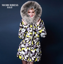 Europe Fashion Winter Women Jackets and Coats Luxury Fox Fur Womens Print Parka femme abrigos y chaquetas mujer invierno 2015