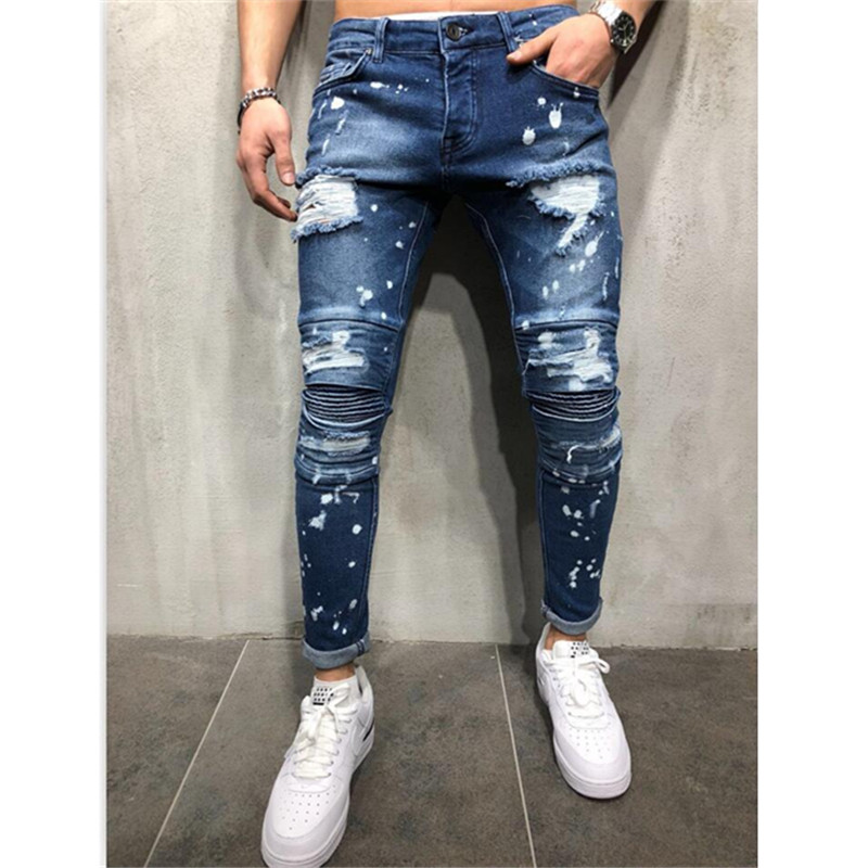 2 Styles Men Stretchy Ripped Skinny Stylish Ripped Jeans Pants Stretch Slim Straight Hip Hop Frayed Casual Denim 2019 New