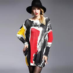 Для женщин свитер один размер пуловеры уличная вязаный свитер в стиле пэчворк длинный рукав Длинные свободные дизайн Slash шеи Прямая