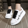 fashion lace up female black red thick bottom leather women casual shoes