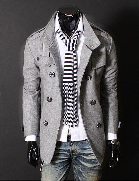 largo Fit Coat masculino Mens botón Slim Trench algodón 2017 otoño qTgw4c