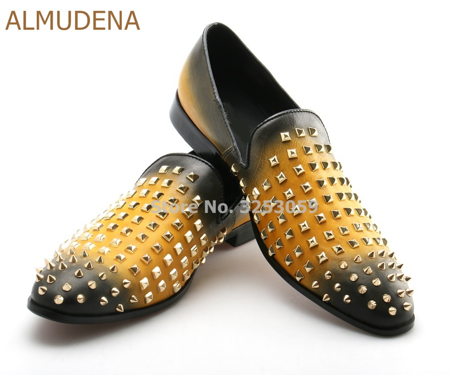 ALMUDENA Mens Luxurious Yellow Black Gradient Color Patchwork Dress Shoes Rivets Loafer Shoes Slip-on Gold Studded Suit ShoesALMUDENA Mens Luxurious Yellow Black Gradient Color Patchwork Dress Shoes Rivets Loafer Shoes Slip-on Gold Studded Suit Shoes