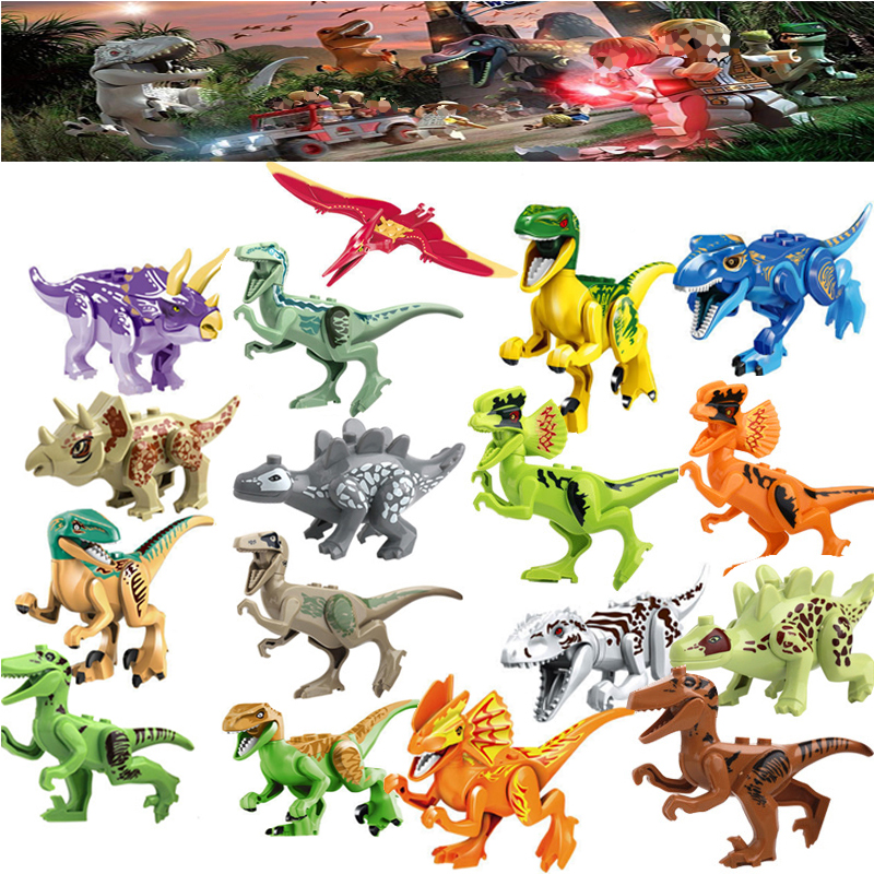 Single Sale Large Figures The world of the Jurassic period Building blocks Dinosaur toys gifts Kids Educational Toys Brinquedos 2 sets jurassic world tyrannosaurus building blocks jurrassic dinosaur figures bricks compatible legoinglys zoo toy for kids