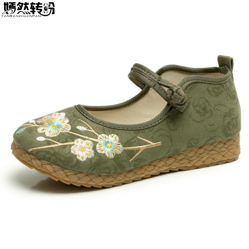 Chinese Women Flats Shoes Vintage Boho Cotton Linen Canvas Floral Embroidered Cloth National Soft Woven Round Toe Ballet Shoes chinese women flats shoes vintage boho