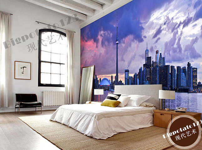 Custom photo wallpaper, sky Toronto city scenic horizon for the living room bedroom TV background wall Papel de parede custom wallpaper murals ceiling the night sky for the living room bedroom ceiling wall waterproof papel de parede