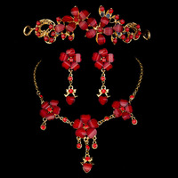 Fashion The Bridal Red Rhinestone Necklace Earrings Crown Elegant Wedding Dress Accessories For Women Jewelry Set