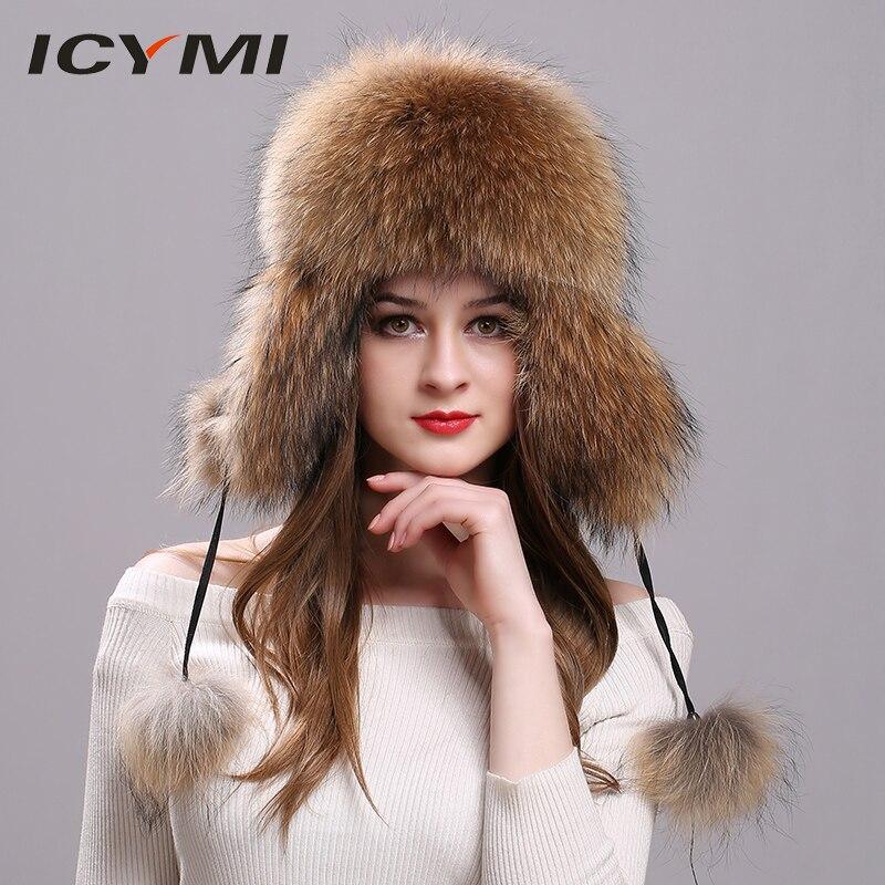 7393eb9f84c4e ICYMI Real Fox fur Women s Russian Ushanka Aviator Trapper Snow Skiing Hat  Unisex Caps Ear Flap