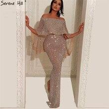 0a088ee3b5 Srebrny pełna frezowanie Backless luksusowe suknie wieczorowe 2019 bez  rękawów pomponem syrenka Sexy suknie wieczorowe rzeczywiste