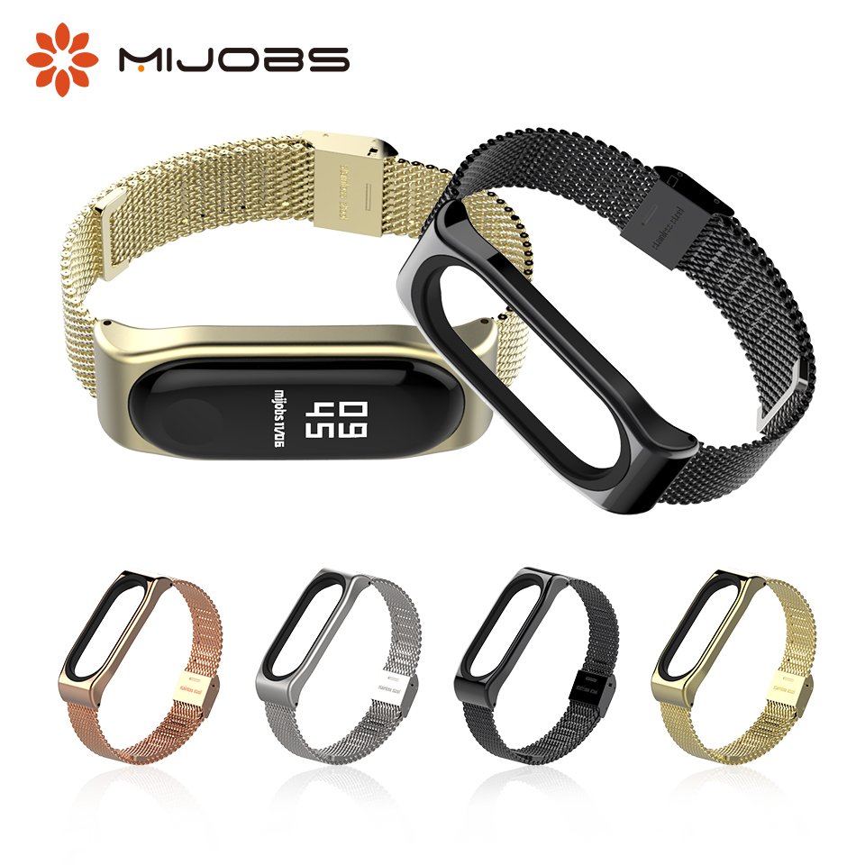 Mijobs Mi Band 3 Metal Wrist Strap Stainless Steel Screwless for Xiaomi Mi Band 3 Smart Bracelet Wristbands Miband 3 Accessories