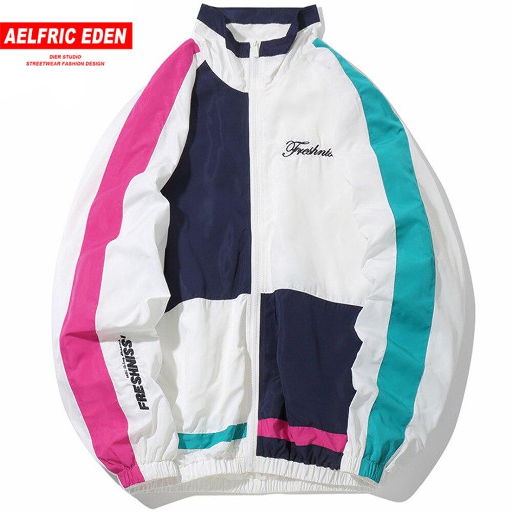Aelfric Eden hombre chaquetas 2018 hip-hop otoño prendas de moda Color Patchwork Casual Streetwear hombre chaqueta delgada abrigo Fs27