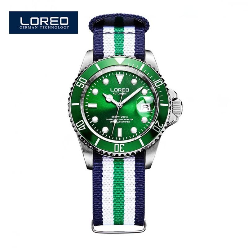LOREO Automatic Mechanical Watch Diamond Sapphire Waterproof Luminous Male Luxury Famous Watches Relogio Christmas Gift A12