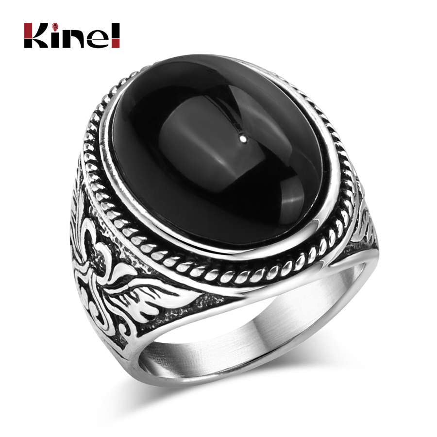 Kinel Fashion Flower Band Oval Natural Stone Rings For Women Vintage Look Antiqu