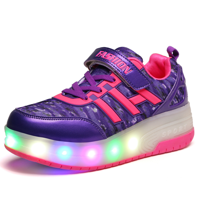 ФОТО Black Cheap Child Fashion Girls Boys LED Light Roller Skate Shoes for Children Kids Luminous Sneakers with Wheels Two Wheels