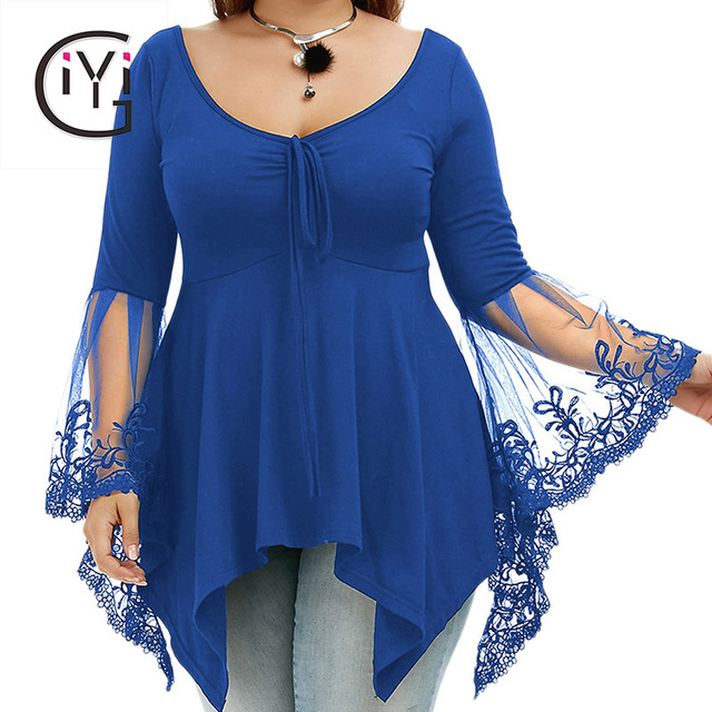GIYI Sexy Lace Bell Flare Sleeve Blouse