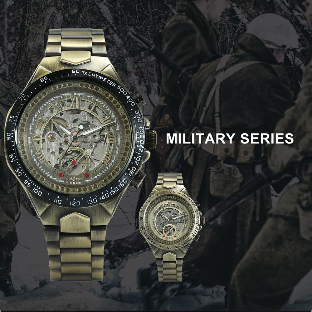 WINNER Vintage Fashion Men Mechanical Watches Metal Strap Top Brand Luxury Best Selling Vintage Retro Design Wristwatches +BOX 10