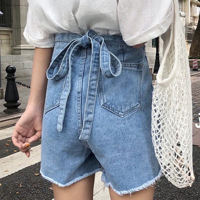 Korean Style Back Bow-knot Lace Up Decoration Women Denim   Shorts   Summer Streetwear High Waist Solid Color Female   Shorts   Skirts