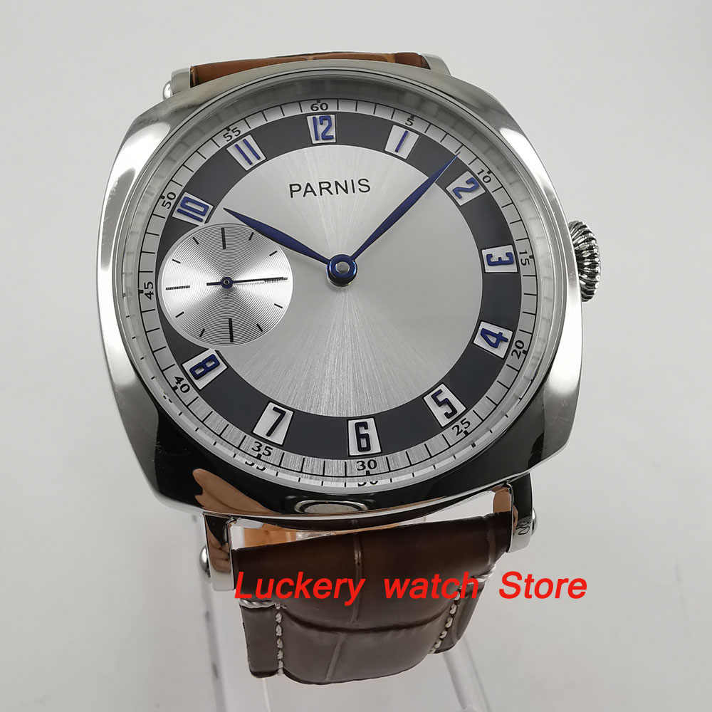 44mm Parnis watch silver dial blue hands 17 jewels 6497 mechanical hand winding movement wrist watch-PM28