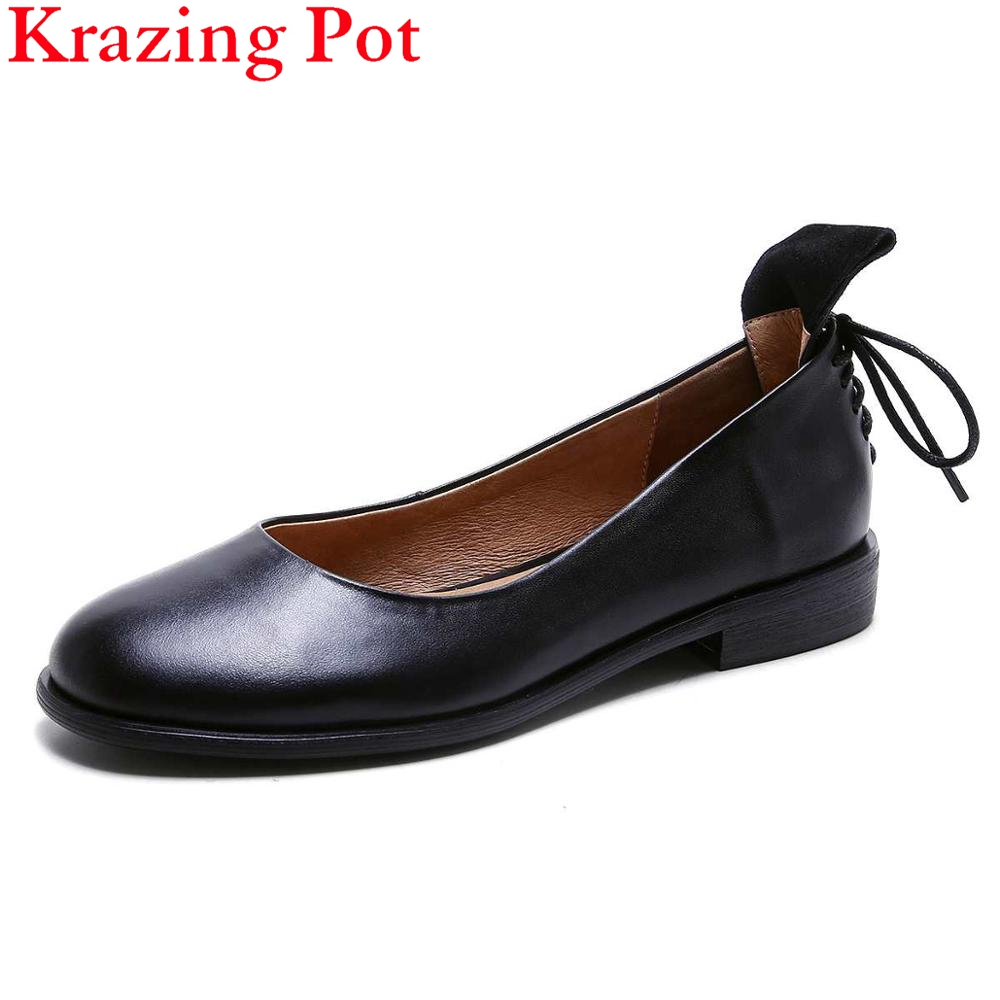 New Fashion Brand Shoes Genuine Leather Slip on Round Toe Lace Up Preppy Style Low Heel Bowtie Women Pumps Mary Jane Shoes L19 slip on men casual shoes male sandal new fashion genuine leather low heel high quality brand korean style thick bottom plus size