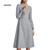 0183159700 2017 Autumn Winter Wool Dress Women Long Gray Dresses Turtleneck Dresses.  2017 Jesień Zima Wełna Sukienka Kobiety Długie Szare Sukienki Golfem