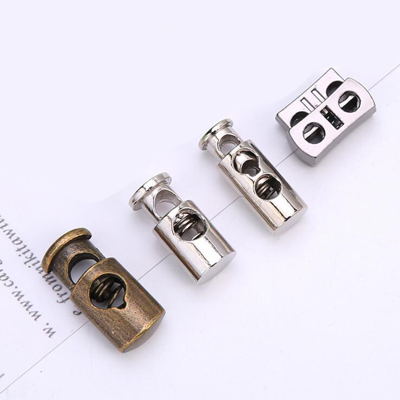 Apparel Sewing Stopper Cord DIY Metal Clamp Double Hole Stoppers Lock Toggle